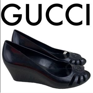 👑 GUCCI BLACK WEDGES 💯AUTHENTIC